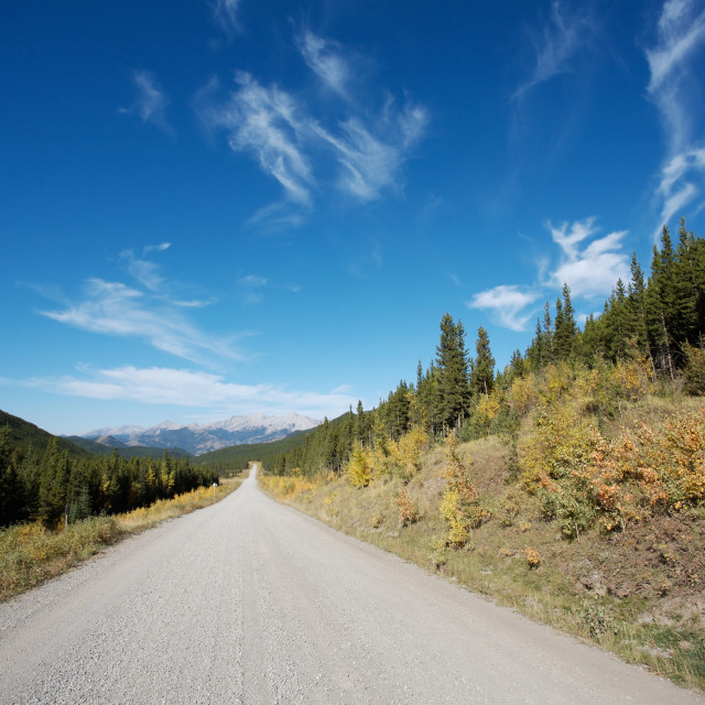 """Gravel road in the Rocky Mountains of Canada"" stock image"