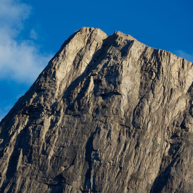 """""""Evening light on mountain peak"""" stock image"""