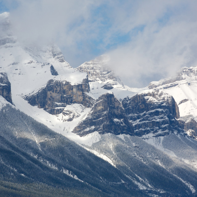 """Mount Rundle with fresh snow"" stock image"