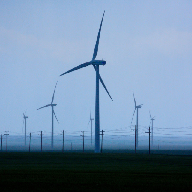 """Wind turbines with power lines"" stock image"