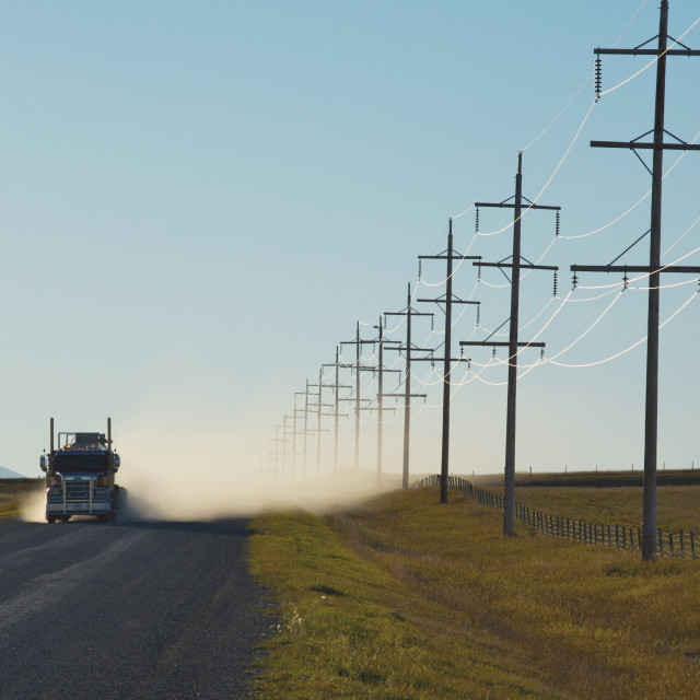 """Truck with power lines"" stock image"