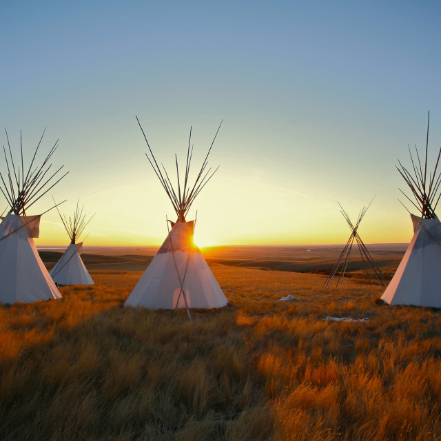 """Tipis at sunrise"" stock image"