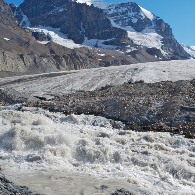 """Athabasca Glacier with melt water 02"" stock image"