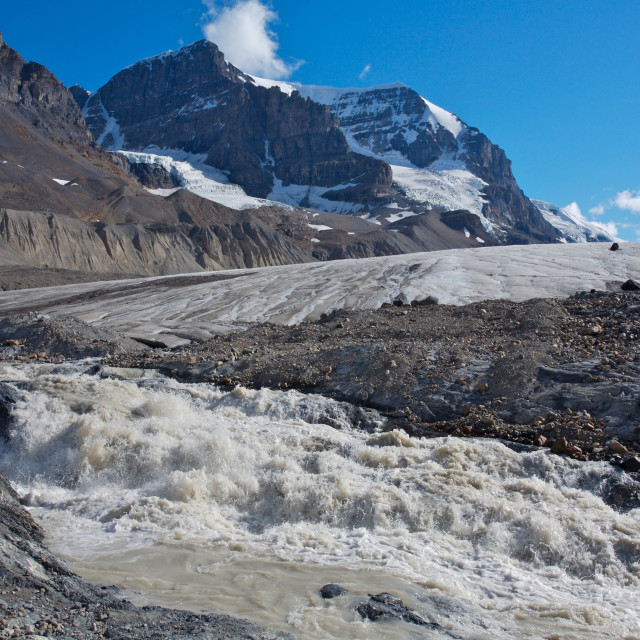"""Athabasca Glacier with melt water 03"" stock image"