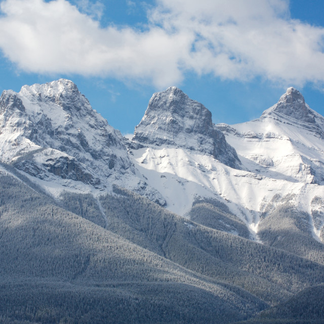 """Three Sisters with snow"" stock image"