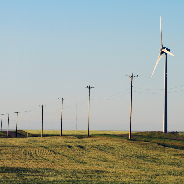 """Wind Turbine and Power Lines 01"" stock image"