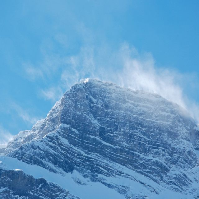 """Snow spindrift on mountain peak 01"" stock image"
