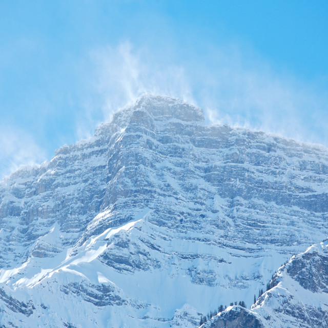 """Snow spindrift on mountain peak 05"" stock image"
