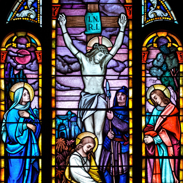 """Stained Glass Crucifixion Scene"" stock image"