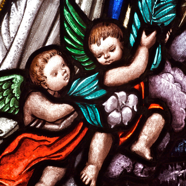 """Stained Glass Angels"" stock image"
