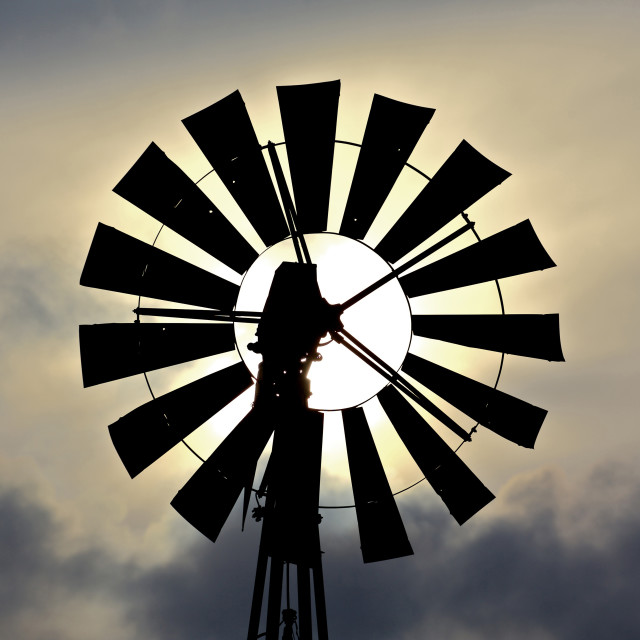 """Windmill silhouette"" stock image"