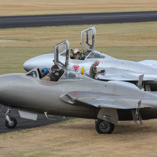 """""""Two Vampire jet aircraft"""" stock image"""
