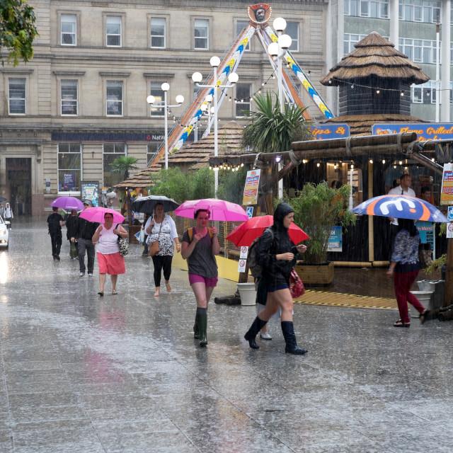 """UK,Weather .Torrential Rain Nottingham city center."" stock image"