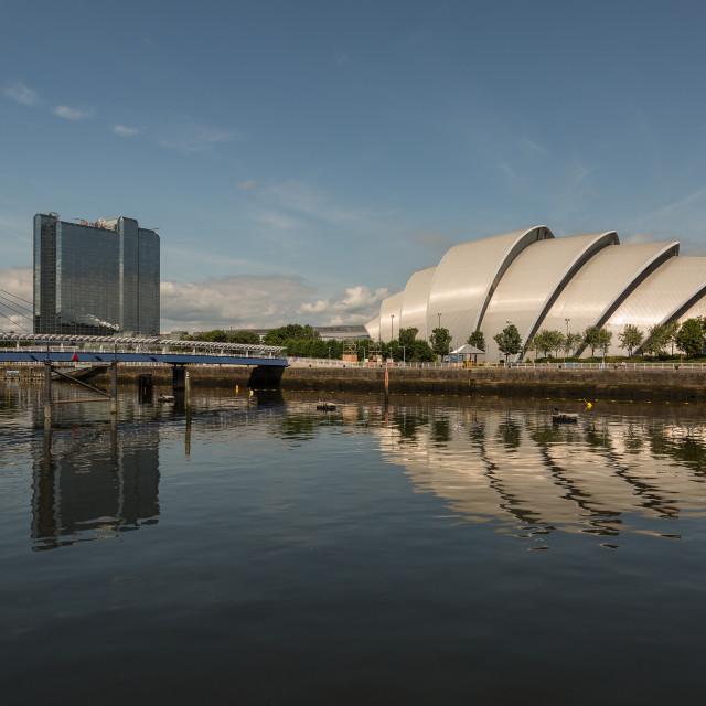 """""""Bells Bridge and Armadillo, Glasgow"""" stock image"""