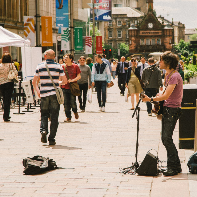 """Busking in Glasgow"" stock image"