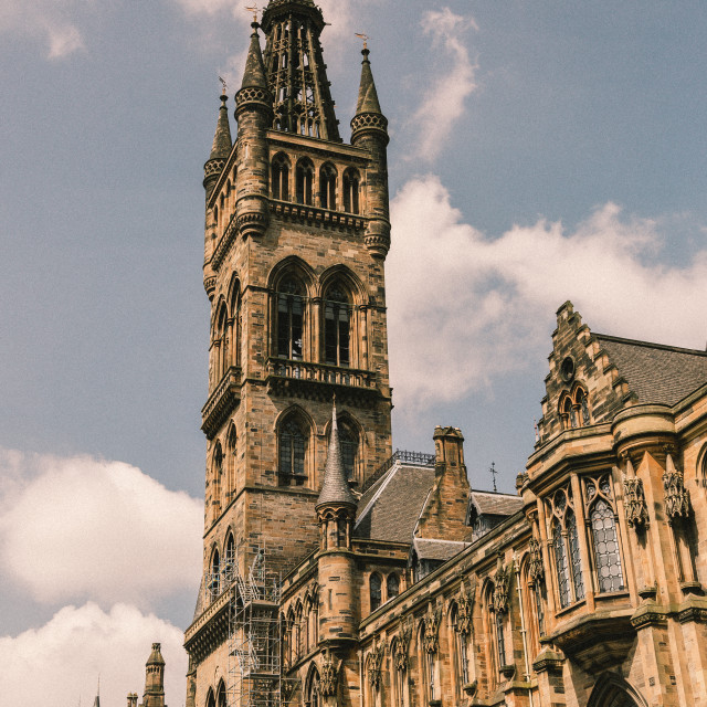 """Glasgow University, Gilbert Scott Building"" stock image"