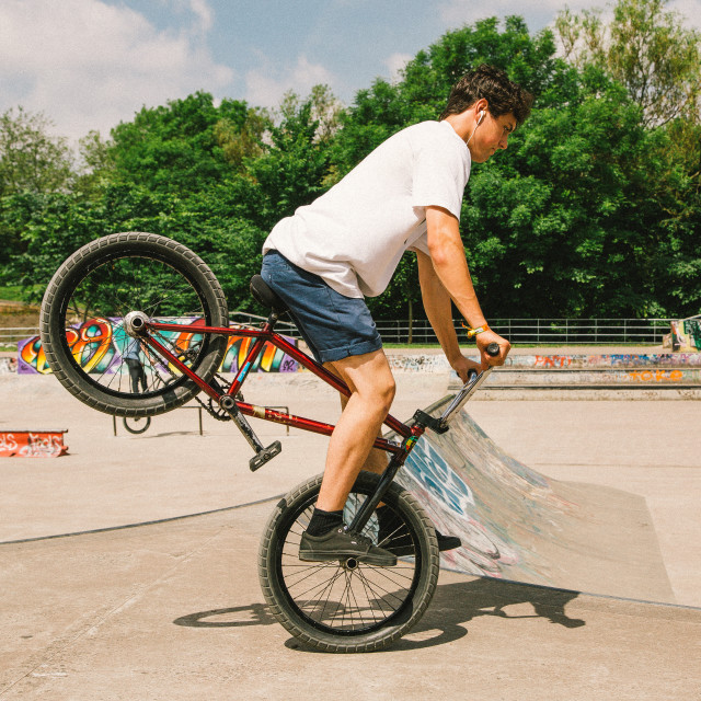"""Nose wheelie BMX"" stock image"