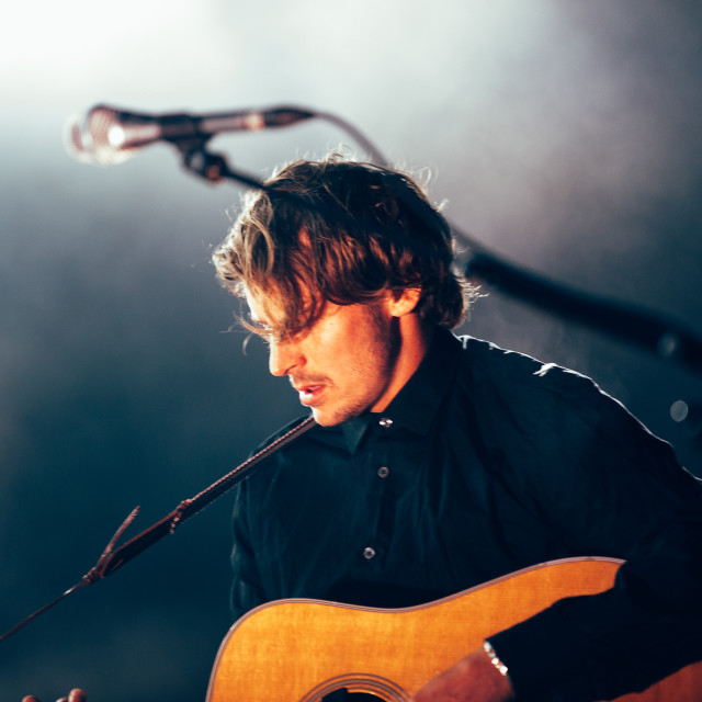 """Ben Howard at Somersault Festival Guitar"" stock image"