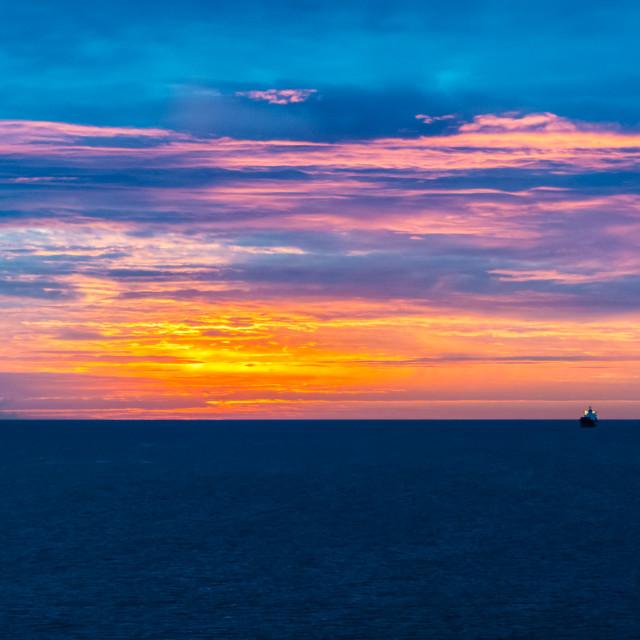 """""""Ship at Sunrise"""" stock image"""