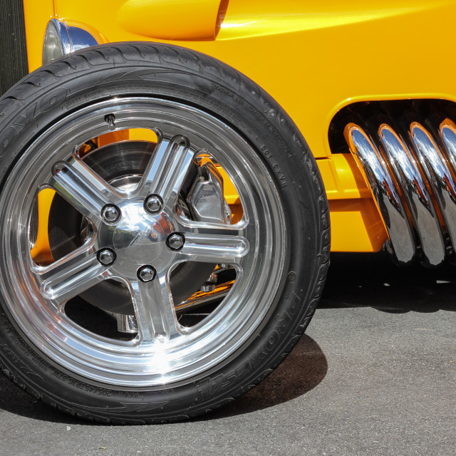 """street rod wheel and pipes"" stock image"