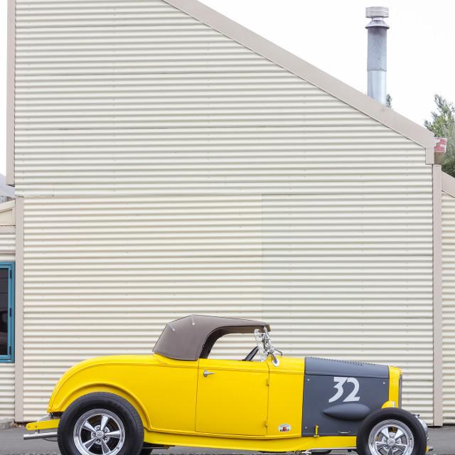 """""""yellow roadster"""" stock image"""