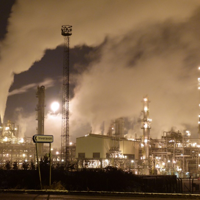 """Refinery at night"" stock image"