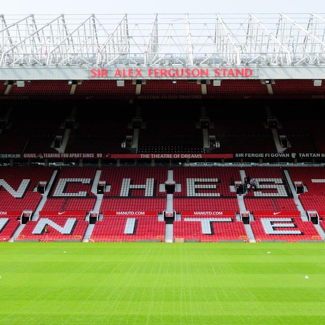 """Old Trafford Sir Alex Ferguson stand"" stock image"