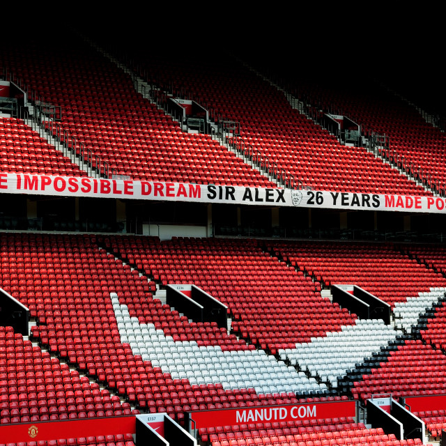 """Old Trafford Sir Alex Ferguson banner"" stock image"