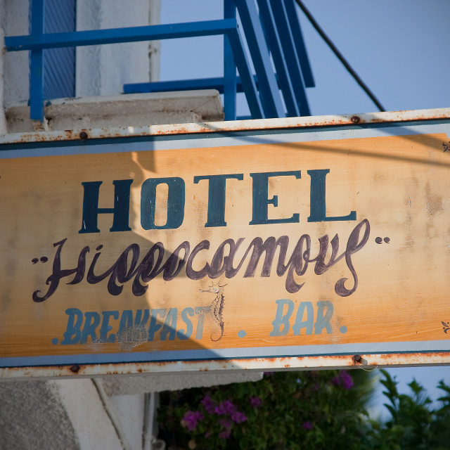 """Greek hotel sign"" stock image"