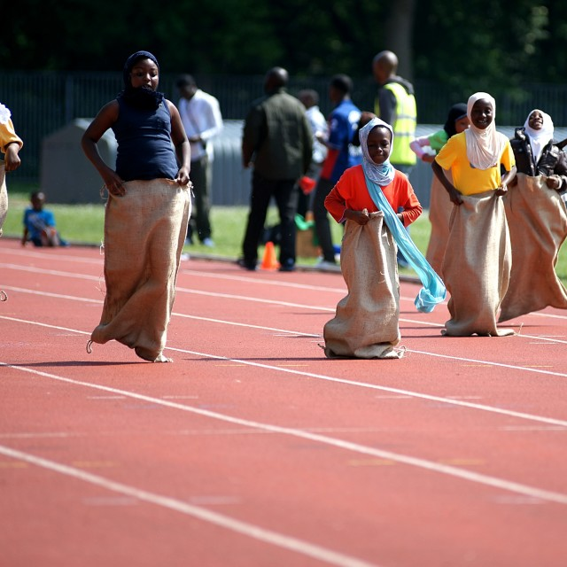 """Sack Race"" stock image"