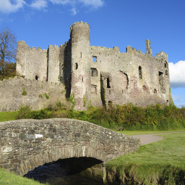 """Laugharne Castle, stream and bridge"" stock image"