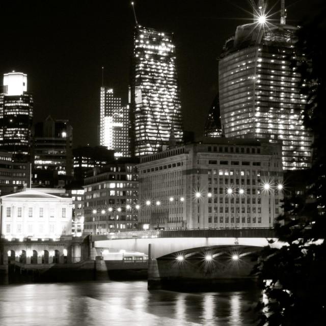 """London Bridge at Night"" stock image"