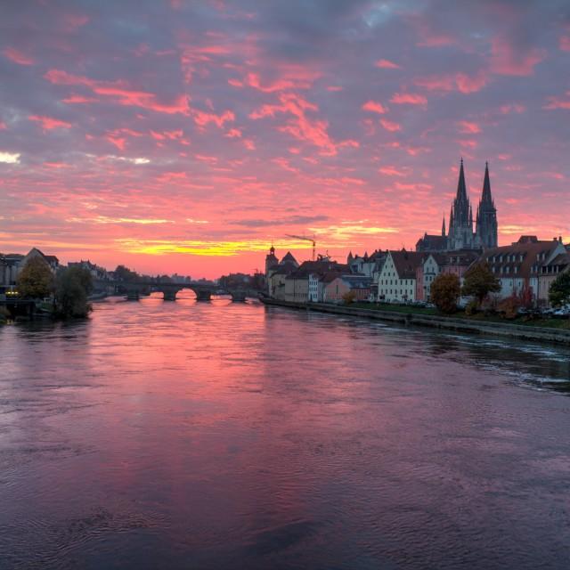 """Sunrise in Regensburg"" stock image"