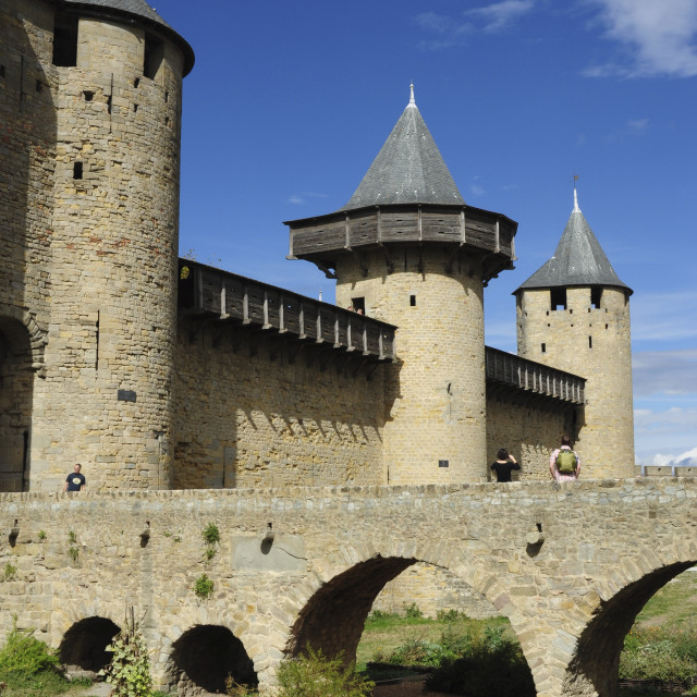 """Carcassonne city walls, France"" stock image"