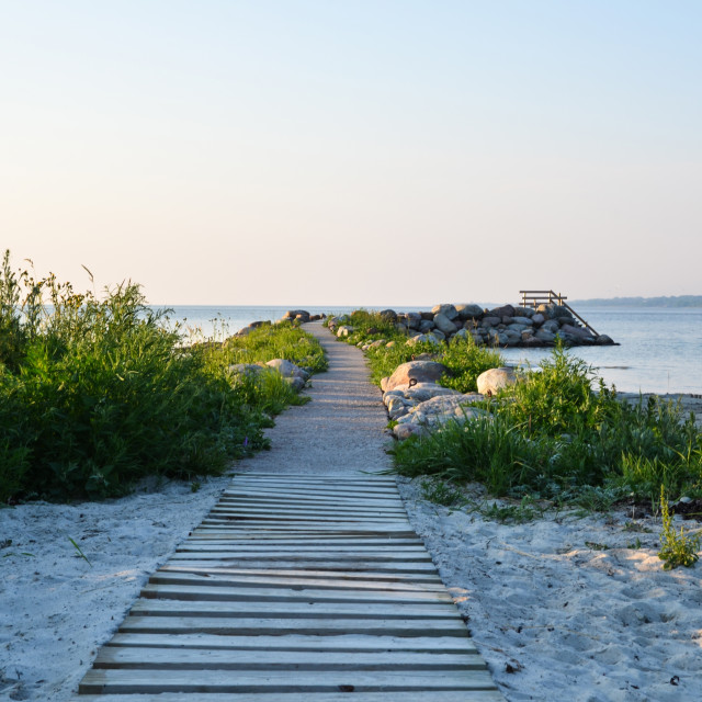 """""""Wooden footpath to the beach"""" stock image"""