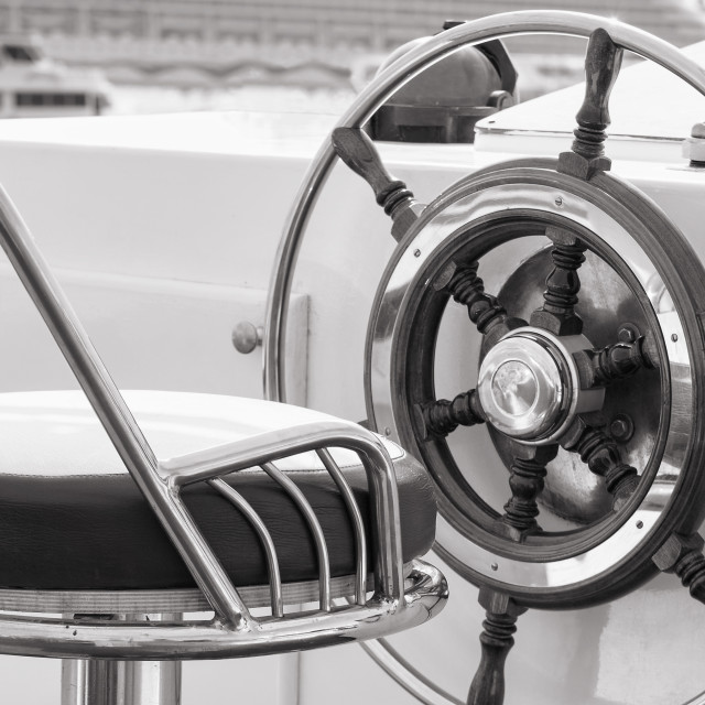 """Yacht rudder in black and white"" stock image"