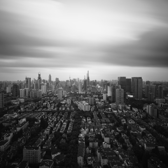 """shanghai in black and white"" stock image"