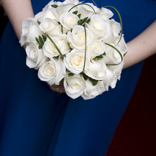 """Brides bouquet white roses"" stock image"