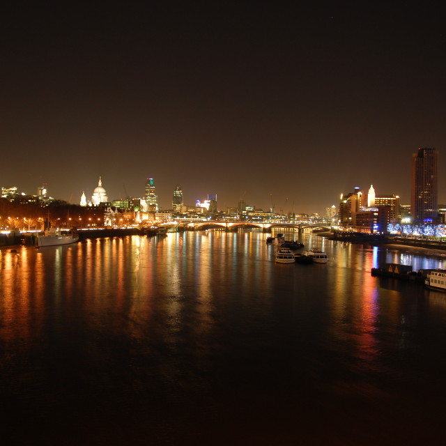 """London by night river Thames"" stock image"