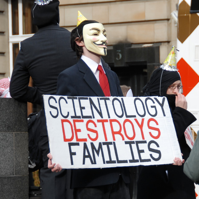 """Scientology protest Edinburgh, Scotland"" stock image"