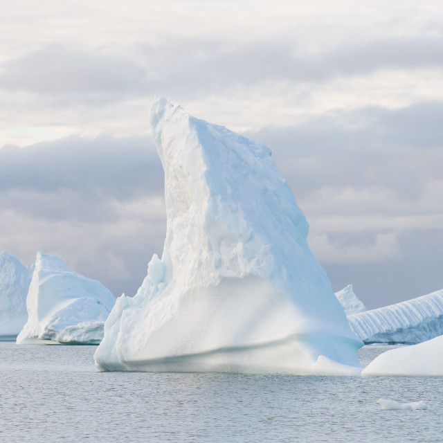 """Panorama with beautiful icebergs"" stock image"