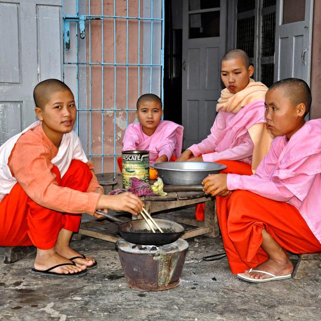 """BUDDHIST NUNS"" stock image"