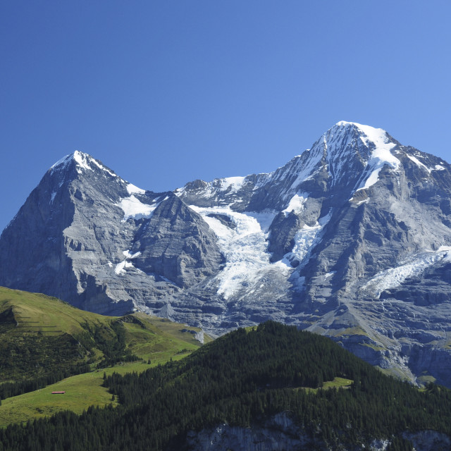 """Swiss Peaks - Eiger and Monch"" stock image"