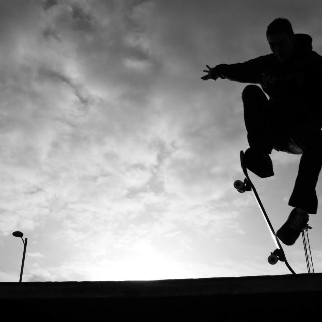 """""""Skate 'N' Sky."""" stock image"""