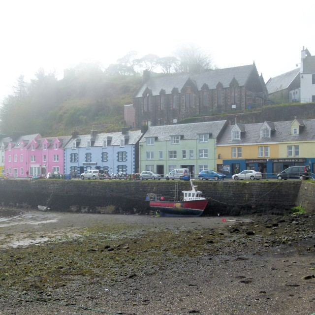 """Portree in mist"" stock image"