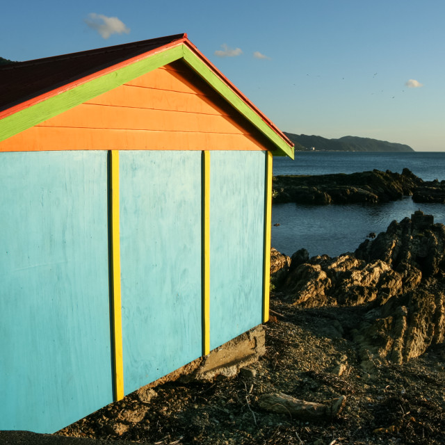 """colourful boat shed"" stock image"