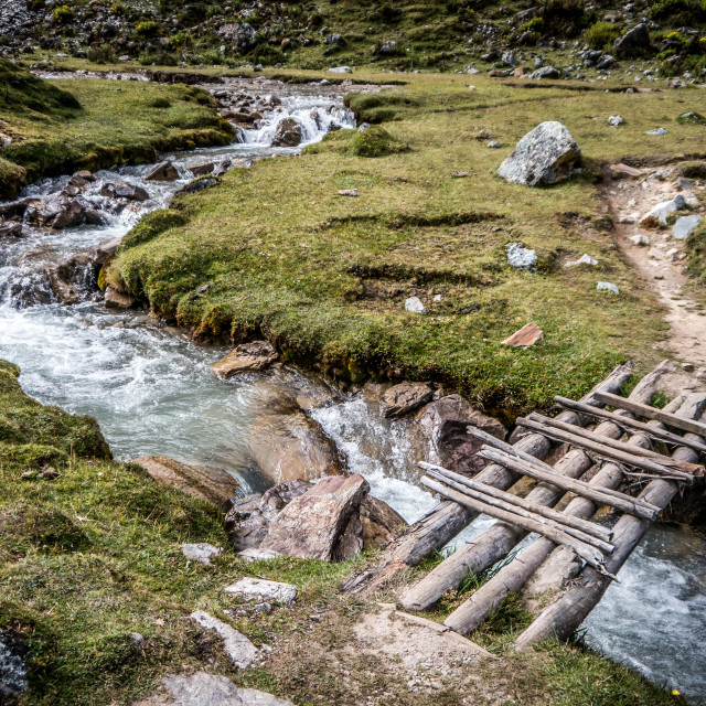 """Small Bridge Over Mountain Stream"" stock image"