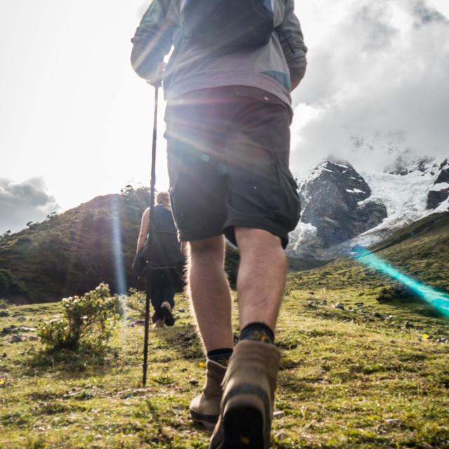 """Mountain Hiker toward the sun"" stock image"