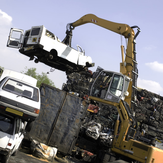 """Scrapping a car"" stock image"