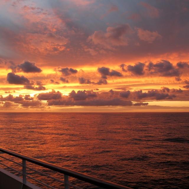 """Fiery sunset at sea (version 2)"" stock image"